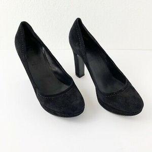 J Crew Womens Classic Black Suede Heels Size 7